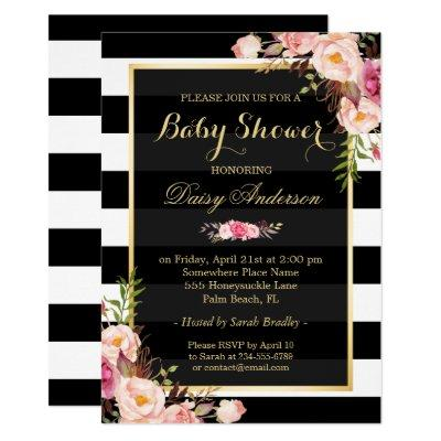 Baby Shower Classy Floral Gold Black White Stripes Invitations