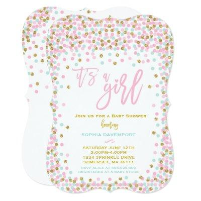 Baby Shower Confetti Invitation Pink Mint And Gold