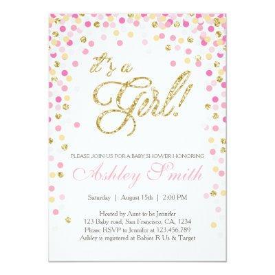 Baby Shower Confetti Pink Gold Glitter Invitations