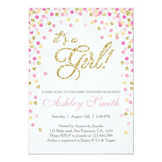 Baby Shower Confetti Pink Gold Glitter Invitations