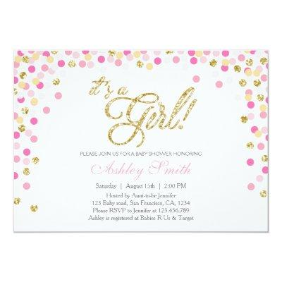 pink gold confetti baby shower baby shower invitations | baby, Baby shower invitations