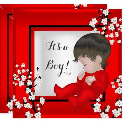 Baby Shower Cute Baby Boy Red Blossom C Invitation