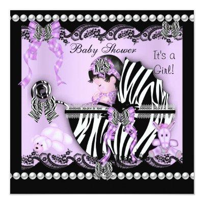 Baby Shower Cute Baby Girl Lilac Zebra Lace Invitations