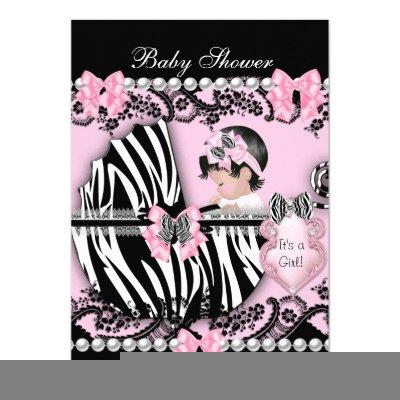 Baby Shower Cute Baby Girl Pink Zebra Lace 2 Invitations