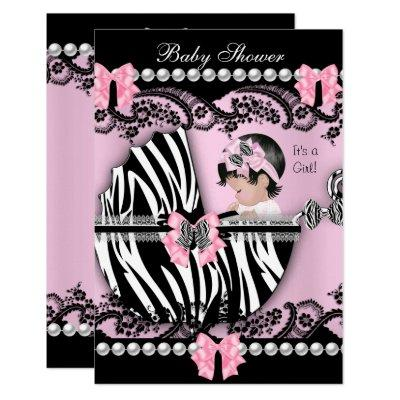 Baby Shower Cute Baby Girl Pink Zebra Lace Invitation