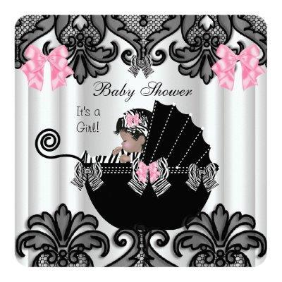 Baby Shower Cute Baby Girl Pink Zebra White Black Invitations