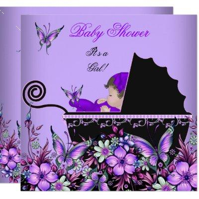 Baby Shower Cute Baby Girl Purple Butterfly 2 Invitations