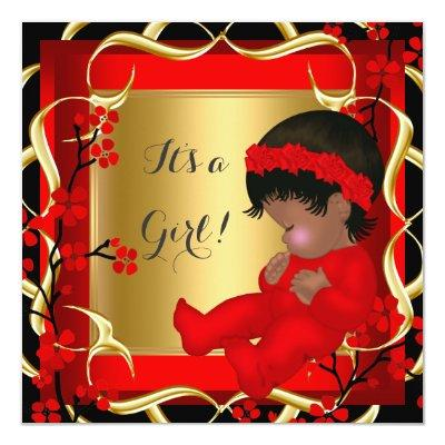 Baby Shower Cute Baby Girl Red Blossom Gold AM 3 Invitations