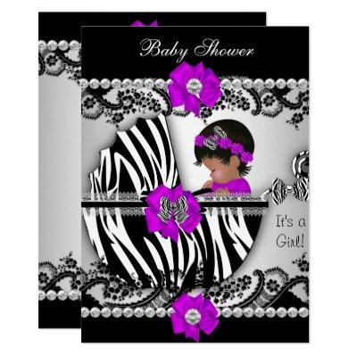 Baby Shower Cute Baby Girl Zebra Purple Pink Black Invitations