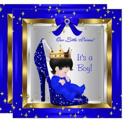 Baby Shower Cute Boy Prince Royal Blue Shoe 6 Invitations