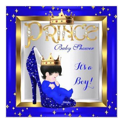 Baby Shower Cute Boy Prince Royal Blue Shoe D1 Invitation