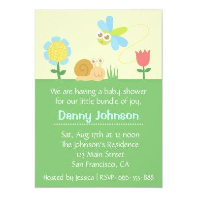 Insect baby shower baby shower invitations baby shower invitations baby shower cute dragonfly snail in a garden invitations filmwisefo