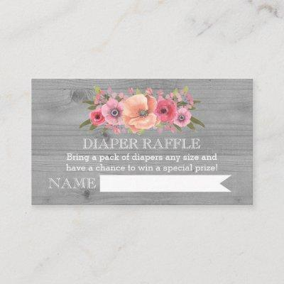 Baby Shower Diaper Raffle Invitations Rustic Wood Floral