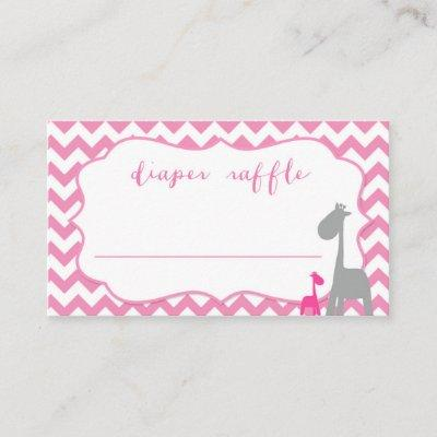 Baby Shower Diaper Raffle Pink Chevron and Giraffe Enclosure Card