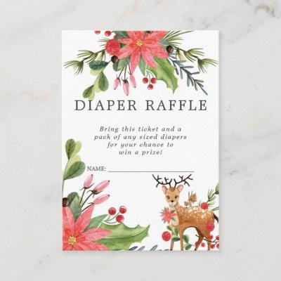 Baby Shower Diaper Raffle Ticket | Reindeer Enclosure Card