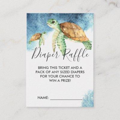 Baby Shower Diaper Raffle Ticket | Sea Turtle Enclosure Card
