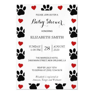 Baby Shower - Dog Paws, Animal Paws, Hearts - Red Magnetic Invitation