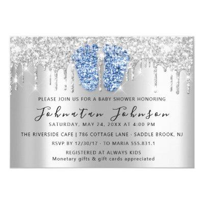 Baby Shower Drips Glitter Blue Feet Gray Boy Girl Invitation