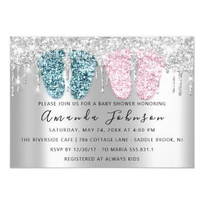 Baby Shower Drips Glitter Feet Gray Twins Boy Girl Invitation