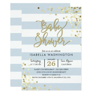 Baby Shower | Elegant Gold Confetti & Blue Stripes Invitations