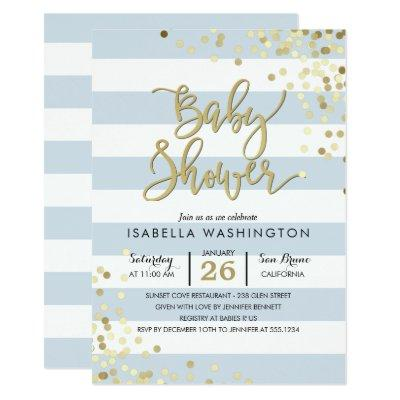 Baby Shower | Elegant Gold Confetti & Blue Stripes Invitation