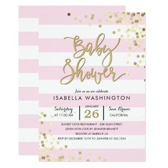 Baby Shower | Elegant Gold Confetti & Pink Stripes Invitations