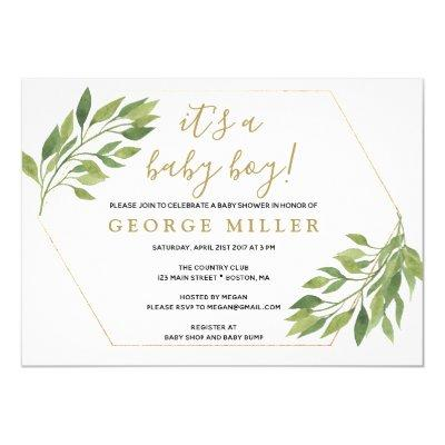Baby shower elegant greenery and gold Invitations