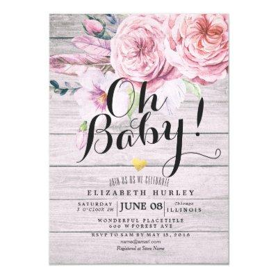 Baby Shower Elegant Watercolor Floral Rustic Wood Invitations