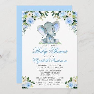 Baby Shower Elephant Watercolor Blue Floral Silver Invitation