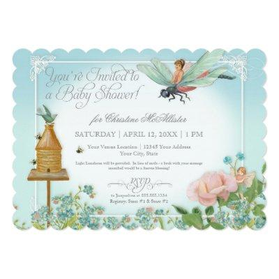 Baby Shower Fairy Garden Bees Dragonfly Rose Art Invitations