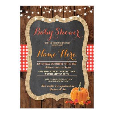 Baby Shower Fall Pumpkin Orange Red Check Invite