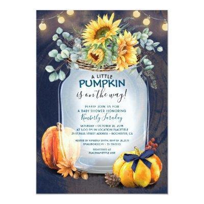 Baby Shower Fall Pumpkin Rustic Mason Jar Invitation