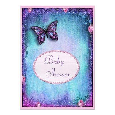 Baby Shower Faux Glitter, Butterfly, Roses, Lace Invitations