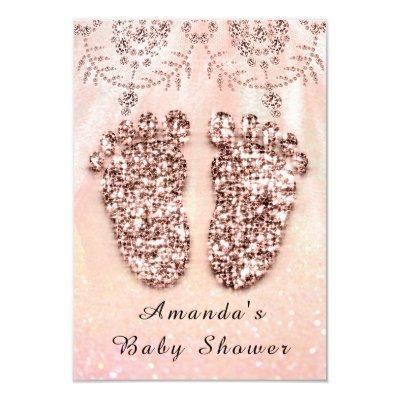 Baby Shower Feet Girl Boy Royal Rose Glitter Lace Invitation