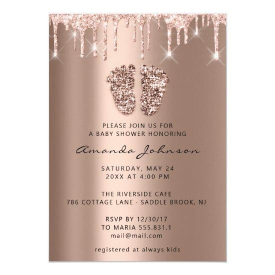 Baby Shower Feet Glitter Rose Gold Drips Boy Girl Invitation