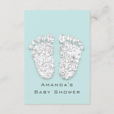 Baby Shower Feet Silver Girl Boy Gray Aqua Invitation