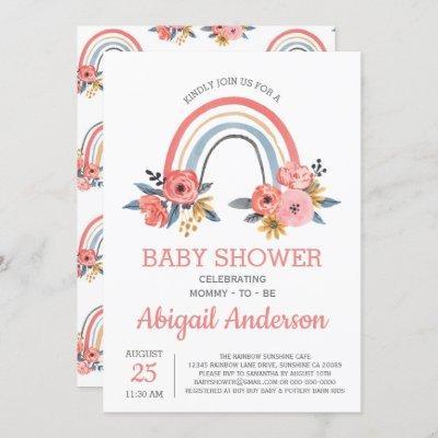 Baby Shower Floral Modern Elegant Rainbow Invitation