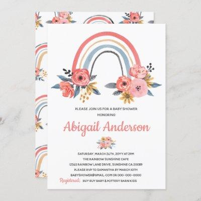 Baby Shower Floral Rainbow Stylish Watercolor Invitation