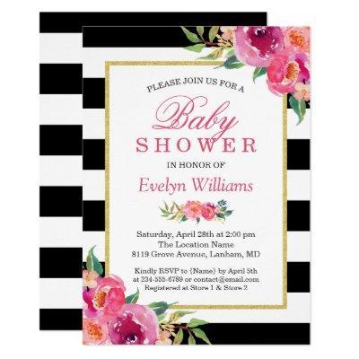 Baby Shower Fuchsia Purple Red Floral Stripes Invitation