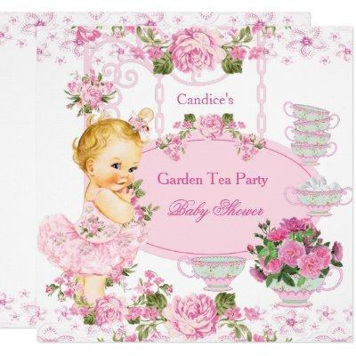 Baby Shower Garden Tea Party Lace Pink Blonde Invitations