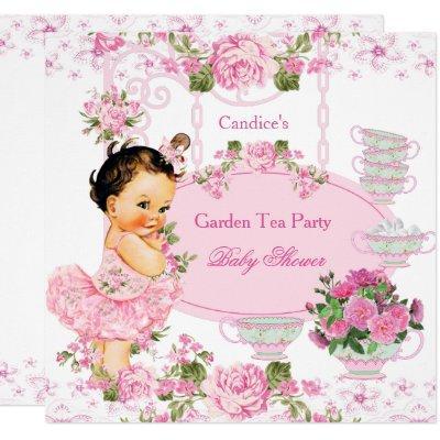 Baby Shower Garden Tea Party Lace Pink Brunette Invitations