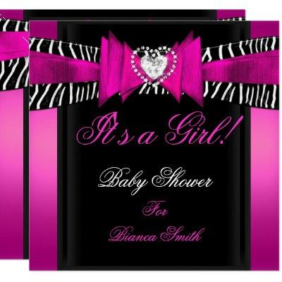 Hot pink black baby shower baby shower invitations baby shower baby shower girl baby hot pink black zebra invitations filmwisefo