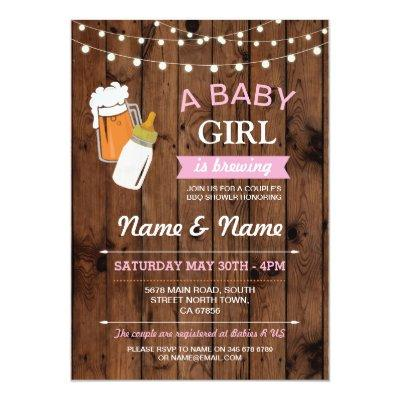 Baby Shower Girl Brewing Beer Pink BBQ Wood Invite