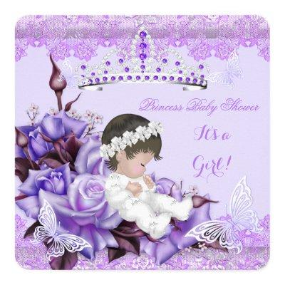 Baby Shower Girl Butterfly Lilac Lavender Rose Invitations