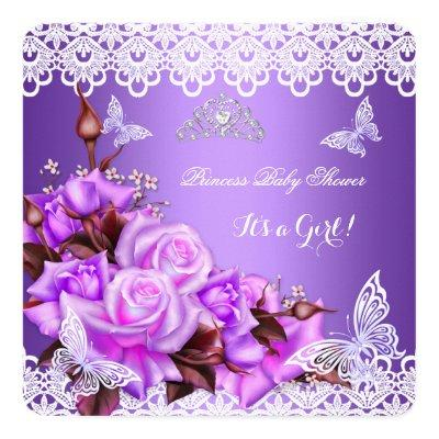 Baby Shower Girl Butterfly Purple Pink Lilac Roses Invitations