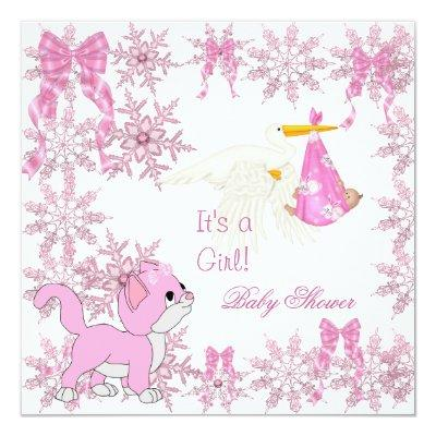 Baby Shower Girl Cute Kitten Stork Invitation