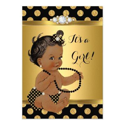 Baby Shower Girl Gold Foil Black Pearls Ethnic Invitations