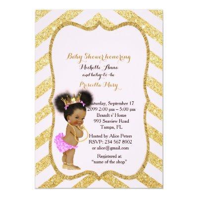 Baby Shower GIRL,golden chevron,white & gold_Ebony Invitations