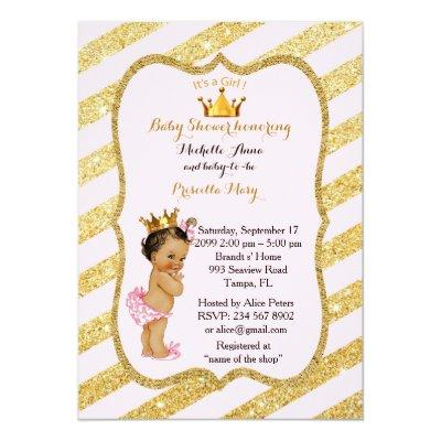 Baby Shower GIRL,golden strips,blush pink gold v2 Invitation
