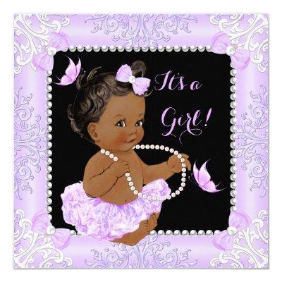 Baby Shower Girl Lavender Butterfly Tutu Ethnic Invitations
